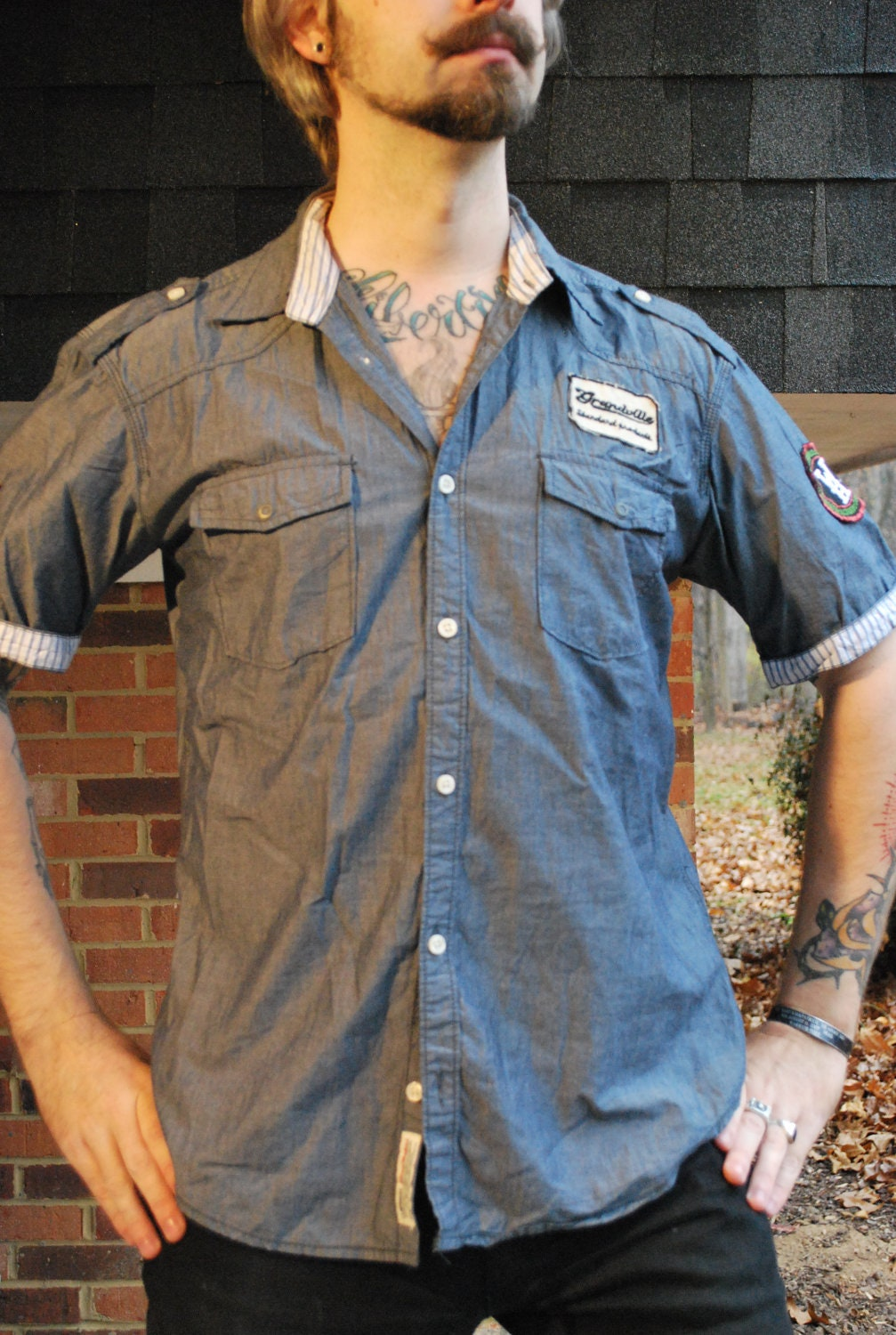 Denim patch shirt auto mechanic racing by temporaloutfitters for Mechanic shirts custom name patch