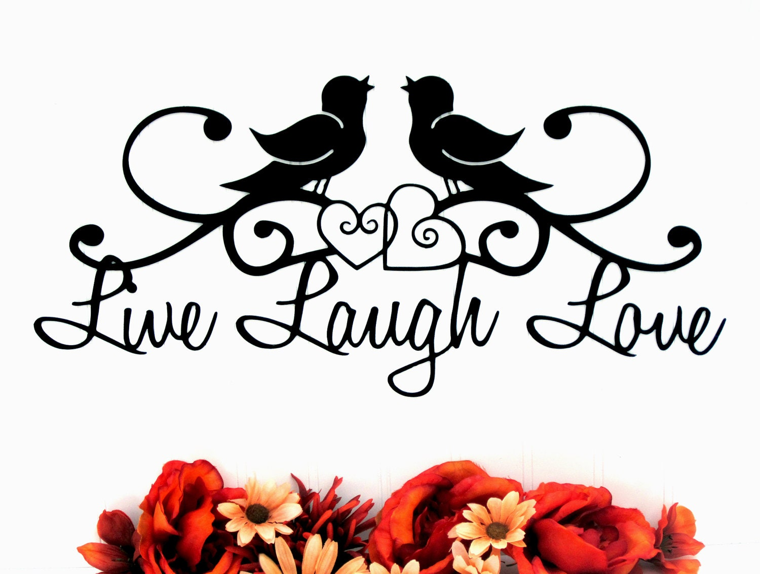 Birds live laugh love sign hearts metal wall art metal zoom amipublicfo Gallery