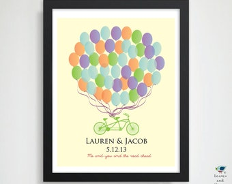 Signature Wedding Guest Book  //  Balloons & Tandem Bicycle Guestbook Alternative / Wedding or  Bridal Shower Gift  / 16x20  50 Guest