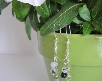 Hanging Earrings with Rutilated Quartz