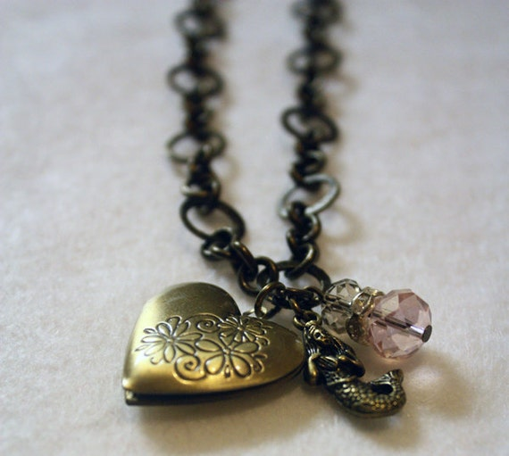 Bronze Charm Necklace - Mermaid Heart Shaped Locket with Pink Crystals