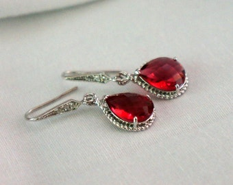 Ruby Bridesmaid Earrings Crystal Teardrop Ruby Bridesmaid Jewelry Dangle Drop Fancy