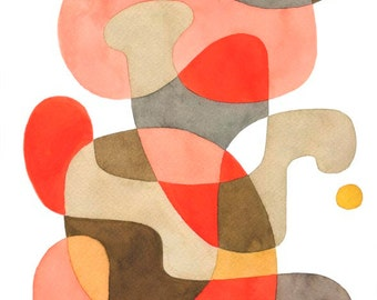 Abstract art print poster 'Playful' Mid Century Modern print poster red, pink, brown, grey, beige, 11 x 16