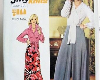 Vintage 1970s  Simplicity 6020 Jiffy Front Wrap Around Blouse, Wide Leg Pants Palazzo Pants, Slim Skirt Bust 36 Vintage Sewing Pattern UNCUT