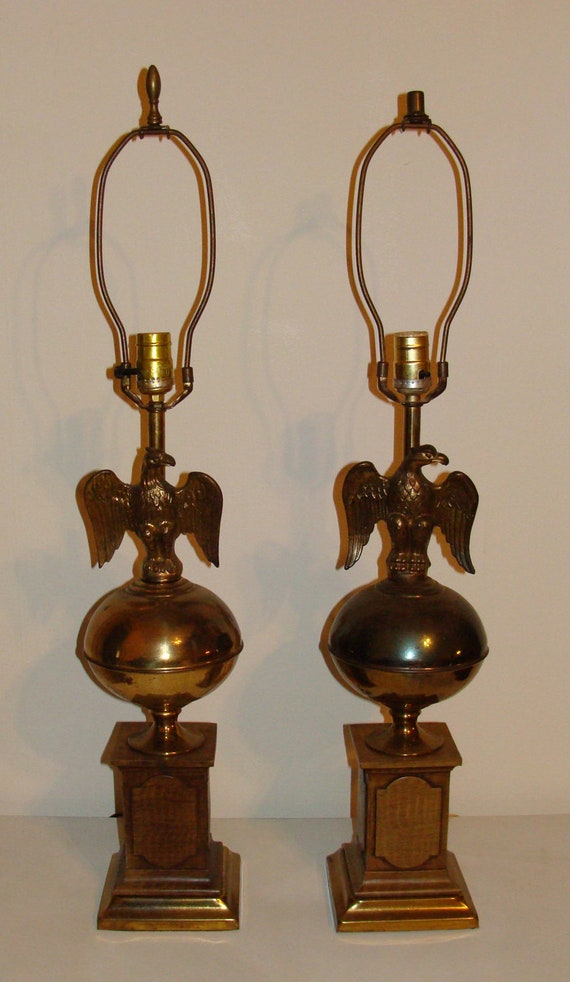 Vintage Pair Of Tall Brass Eagle Lamps Stacked On Ball All