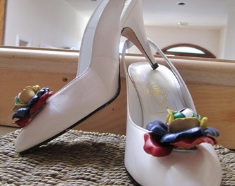White leather slingback heels by QualiCraft size 6.5 B