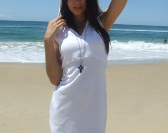 White Hoody Dress-  Sleeveless- Organic Cotton Lycra- Eco Friendly