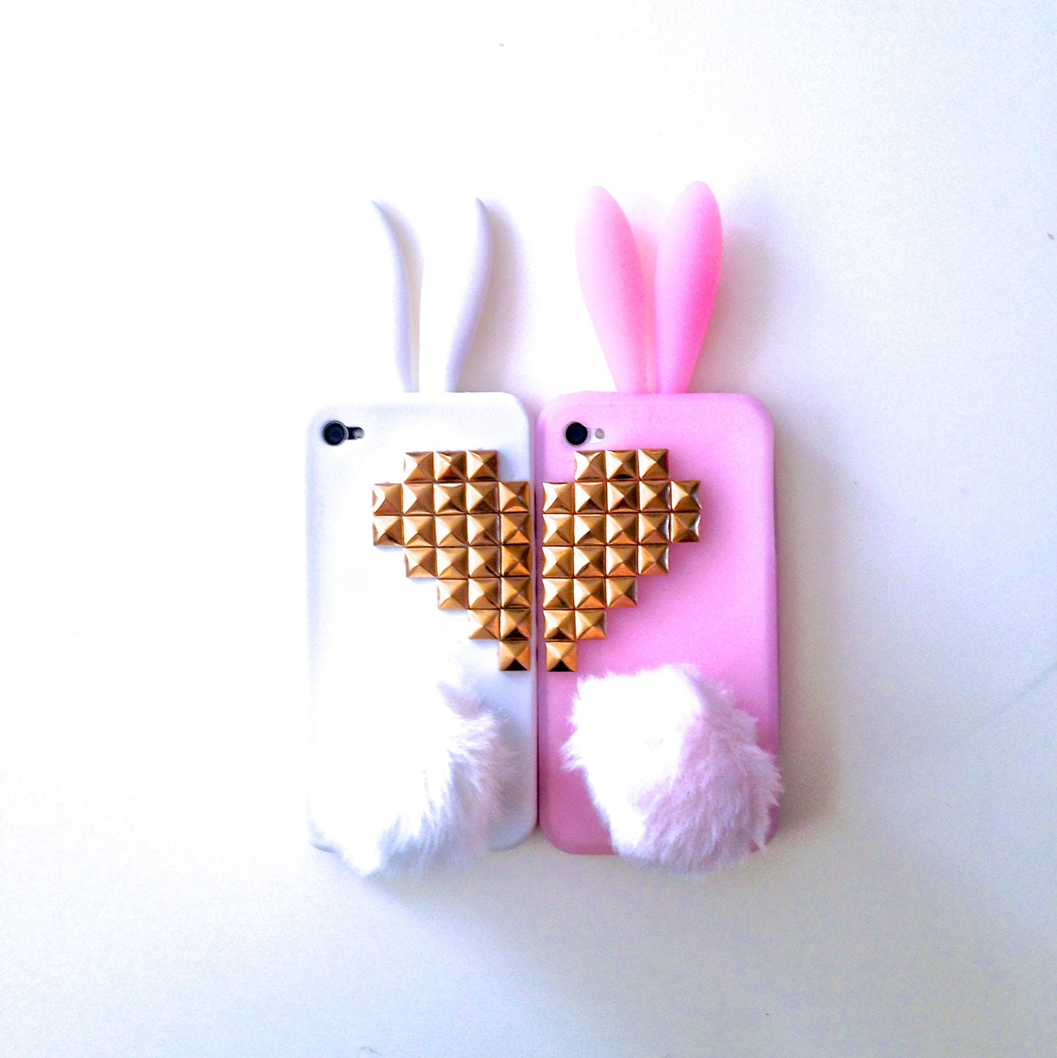 Best Friends Bunny Rabbit Heart Studded iPhone 4 4s Silicone