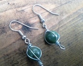Wire-Wrapped Green Glass Bead Earrings