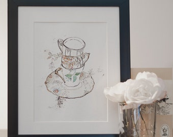 Tea Cups// Vintage// Flowers// Illustrated Print // A5 - 5x8 // A4 - 8x10