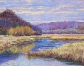 "Original Art Pastel Landscape Painting - ""December Creek"" by Colette Savage, purple, winter marsh, water reflections, distant hills, canoe"