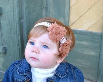 Baby Lace Headband.Shabby Chic Headband.Shabby Flower Headband.Shabby Headbands.Baby Girl Headbands.Baby Shabby Headband.Tan Baby Headband