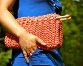 Clutch Handmade Knitted Peach Pink made of Recycled Cotton
