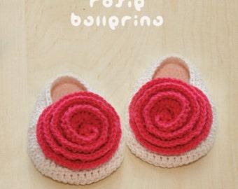 Rosie Ballerina Crochet Pattern Baby Booties Rose Preemie Flower Newborn Socks Crochet Baby Slippers Rose Applique (RB01-K-PAT)