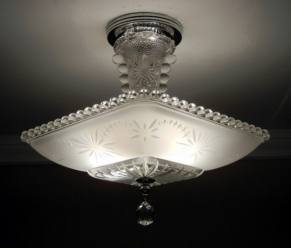 Vintage Light Fixture Fixtures: Vintage American Art Deco STARBURST CANDLEWICK Frosted Glass