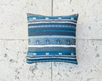 16x16 BLUE Embroidered THROW Pillow Cover Decorative pillow Accent pillow lush pillow Asian pillow cover