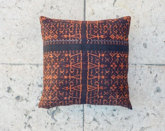 SALE 50% - Orange, Black IKAT THROW Pillow Cover, 18x18 inch, Tribal pillow, indie pillow cover, Ikat fabric, Bali pillow, Decorative pillow