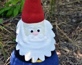 """Garden gnome plush toy in blue and red 18"""""""