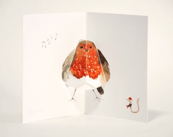 Robin Pop up Christmas Card - Watercolour print - Hand cut and folded
