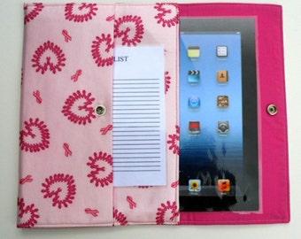 iPad, iPad2, iPad3 Case / Cover / Sleeve padded (READY TO SHIP) - Breast Cancer