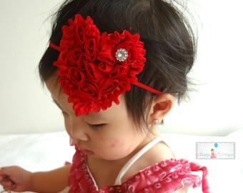 Valentine Headband, Red Shabby heart headband. Baby Girls Headbands, Newborn headband, Heart headband, Valentine heart, Red headband, Heart