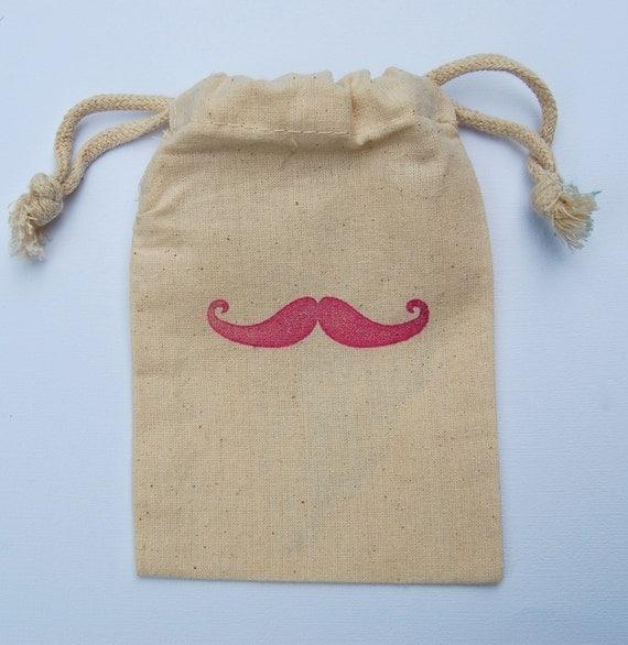 Pink Moustache Bash Favor Bags / Set of 10 / Party Favor Bags