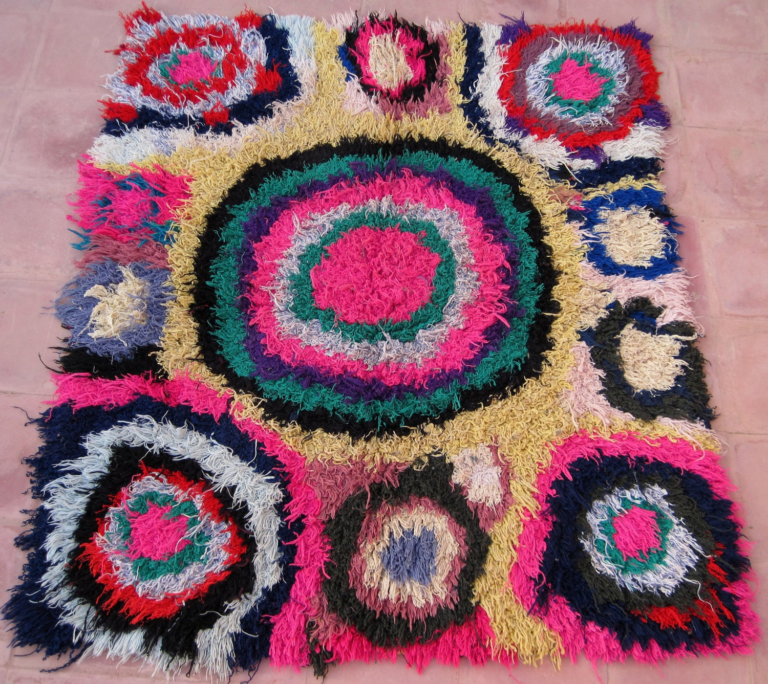 Vintage Moroccan Rug Woven By Hand From Scraps By