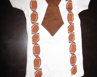 Tie bodysuit with suspenders for baby boys - FOOTBALL