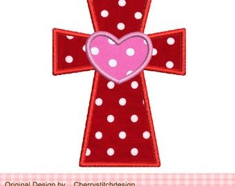 """Cross with heart Machine Embroidery Applique -4x4 5x5"""""""