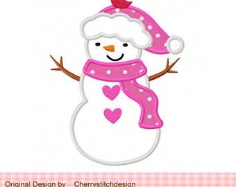 Snowman girl Machine Embroidery Applique Design  4x4 5x5 6x6 inch