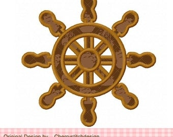 Ship Wheel Machine Embroidery Applique Design - 4x4 5x5 6x6""