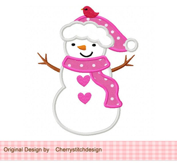 Free embroidery designs cute embroidery designs - Snowman Girl Machine Embroidery Applique Design 4x4 5x5 6x6