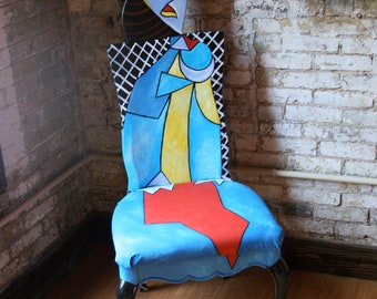 Picasso Femme Assise Dans Un upscaled chair painted by Artist Todd Fendos