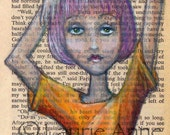 Vivian Laurie: My Quirky Artist Alter Ego with the Purple Hair and Orange T-Shirt, 5x7 Autumn Art Print
