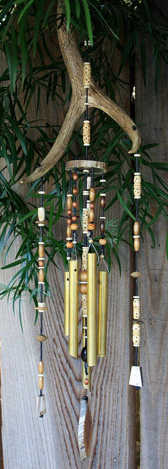 """25"""" Deer Antler Windchime with mahogany paddle"""