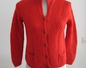 Sale red 1950s knit cardigan vest small