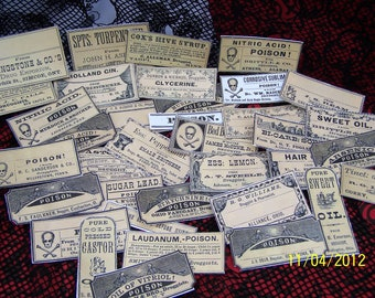 Halloweeen Stickers, Apothecary Labels, Poison Labels, Goth Planner Supplies, Gothic Stationery, Mystery Bag, Sticker Set, Vintage Pharmacy