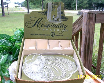 """Vintage 1950s Anchor Hocking """"Hospitality"""" Snack Set Made by FEDERAL GLASS CO."""