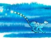 Cat chasing the moon - illustration