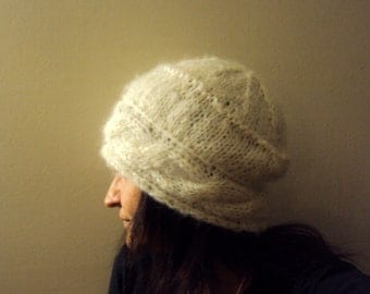 Slouchy Mohair Angora Benaie Hand Knit Cabled Hat Beanie Beret Cream Ivory Women Winter Clothing Accessory Gift Under 50