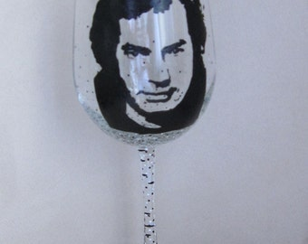 Hand Painted Wine Glass - NEIL DIAMOND - Singer. song Writer