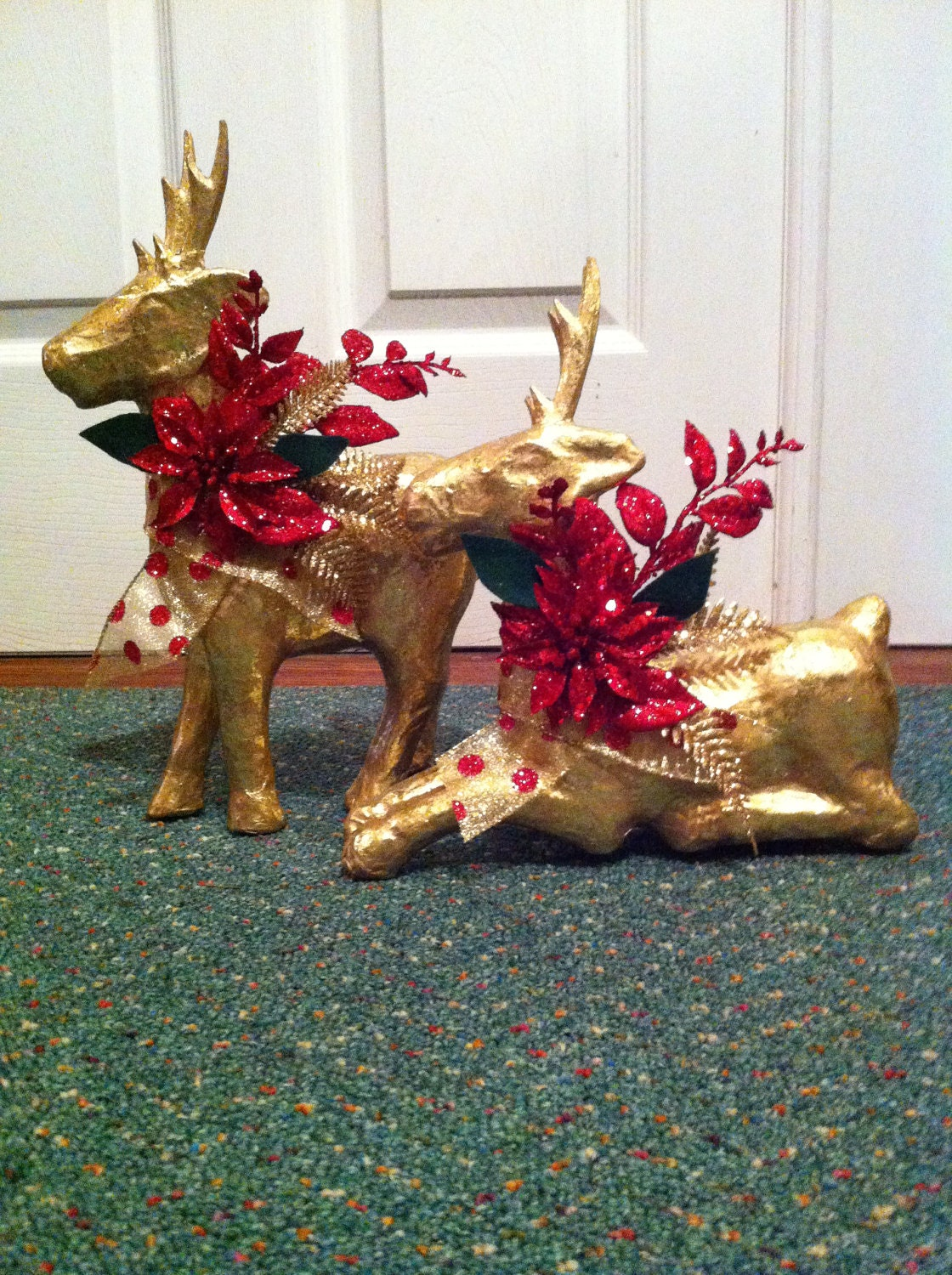Paper mache christmas reindeer by 2creativegirls on etsy for Paper mache christmas