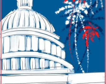 Art & collectibles, Fourth of July, Capitol, Washington DC, art print, artwork, painting, holiday, Fourth of July, red white blue, fireworks
