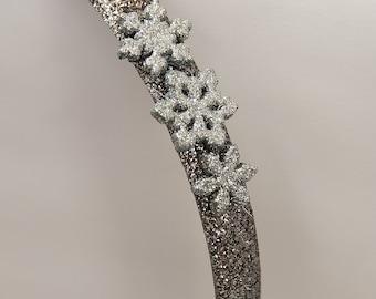 Silver Snowflake Headband, Holiday Headband, Snowflake Headband, Snowflake Accessories, Glitter Headband, Glitter Accessories