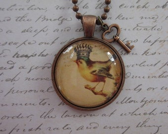 Vintage Bird/Crown Glass Pendant Necklace With Copper Key Charm