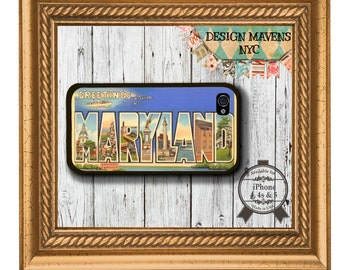 Maryland Postcard iPhone Case, Plastic iPhone Case, iPhone 4, iPhone 4s, iPhone 5, iPhone 5s, iPhone 5c, iPhone 6
