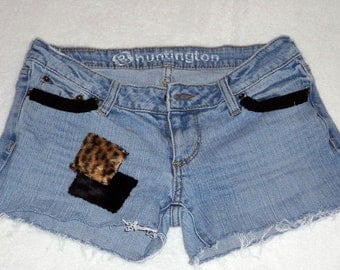 Upcycled Clothing - Low Rise Denim Shorts - Size 3 - SALE