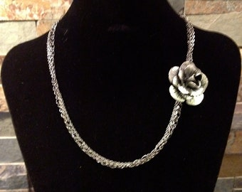 Black Pewter Gunmetal Flower Pendant Necklace with Chain