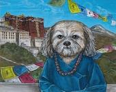 Tibetan Princess Lhasa Apso Dog Portrait fine art print