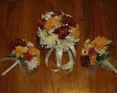 Autumn Bridal Bouquet AND 2 Bridesmaids Bouquets